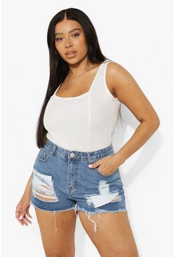 Plus Ripped High Waist Denim Shorts, Mid wash