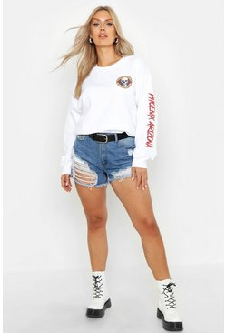 Plus Ripped Distressed High Waist Denim Shorts, Mid wash