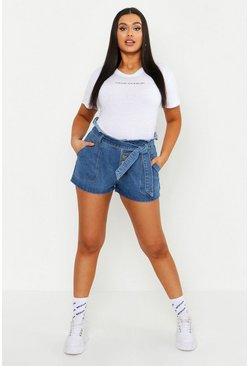 Mid wash Plus Denim Tie Waist Shorts