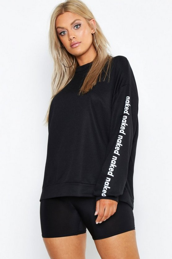 Womens Black Plus Naked Slogan Oversized Sweat Top