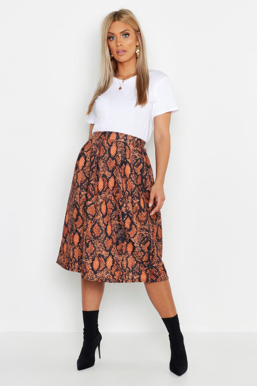 Plus Snake Print Scuba Midi Skirt