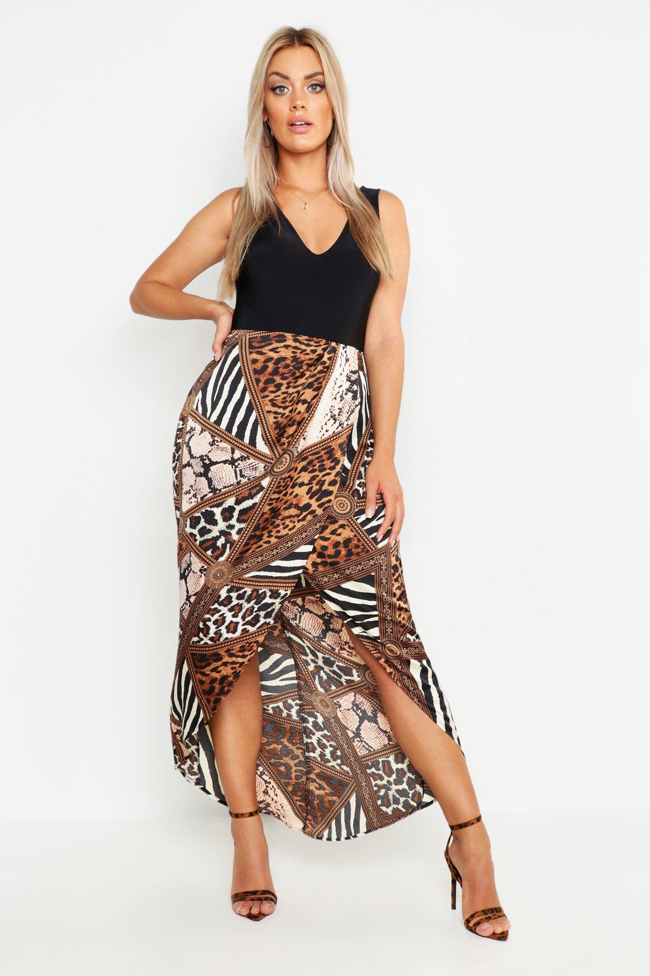 Plus Mixed Animal Satin Wrap Skirt