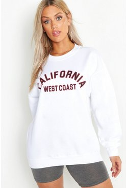 Womens White Plus California West Coast Sweat