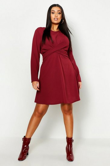 Womens Berry Plus Wrap Front Woven Skater Dress