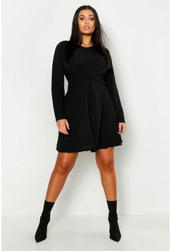 Black Plus Wrap Front Woven Skater Dress