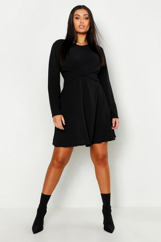 Womens Black Plus Wrap Front Woven Skater Dress