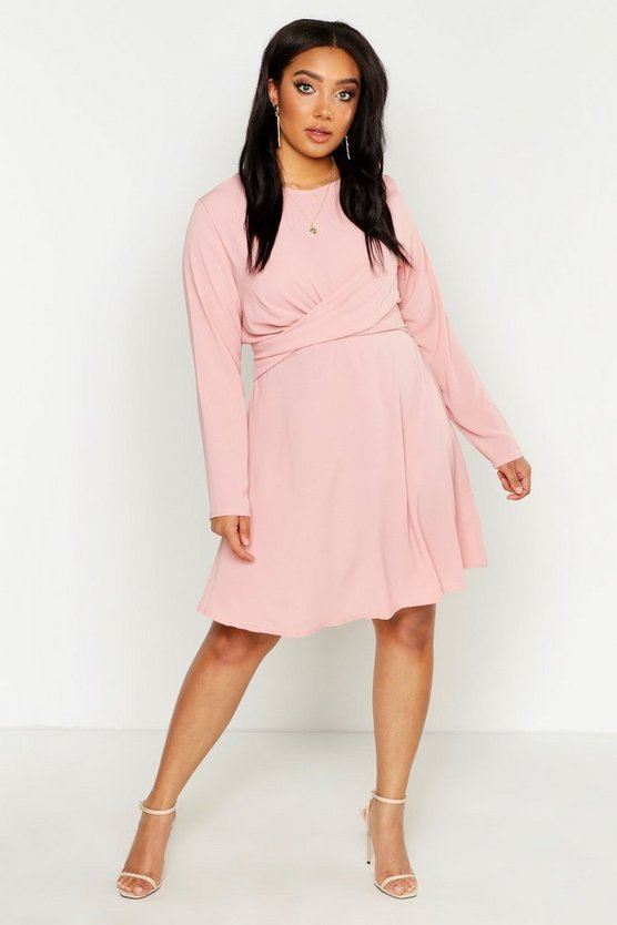 Womens Blush Plus Wrap Front Woven Skater Dress