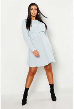 Womens Grey Plus Wrap Front Woven Skater Dress