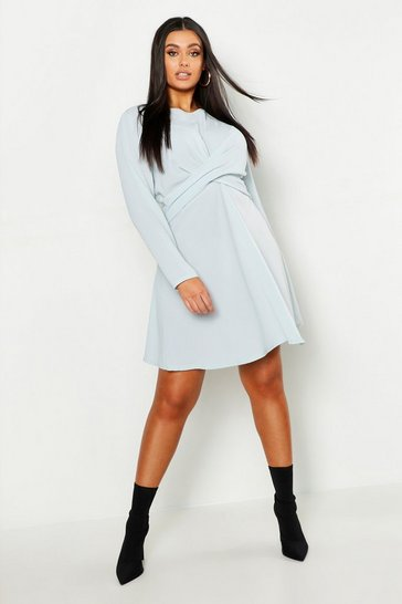 Grey Plus Wrap Front Woven Skater Dress