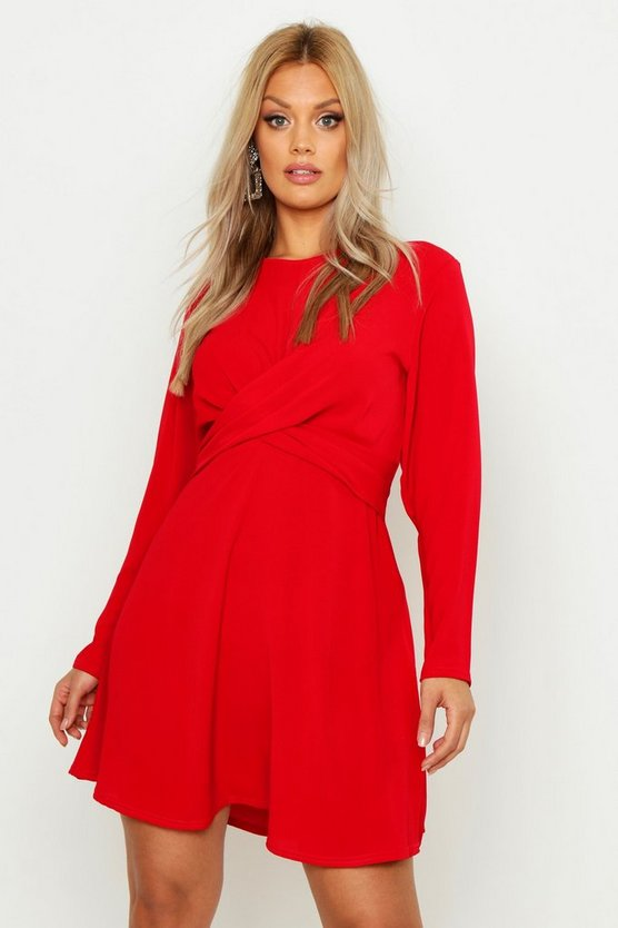 Womens Red Plus Wrap Front Woven Skater Dress