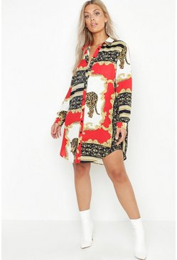 Womens Red Plus Chain Printed Shirt Dress