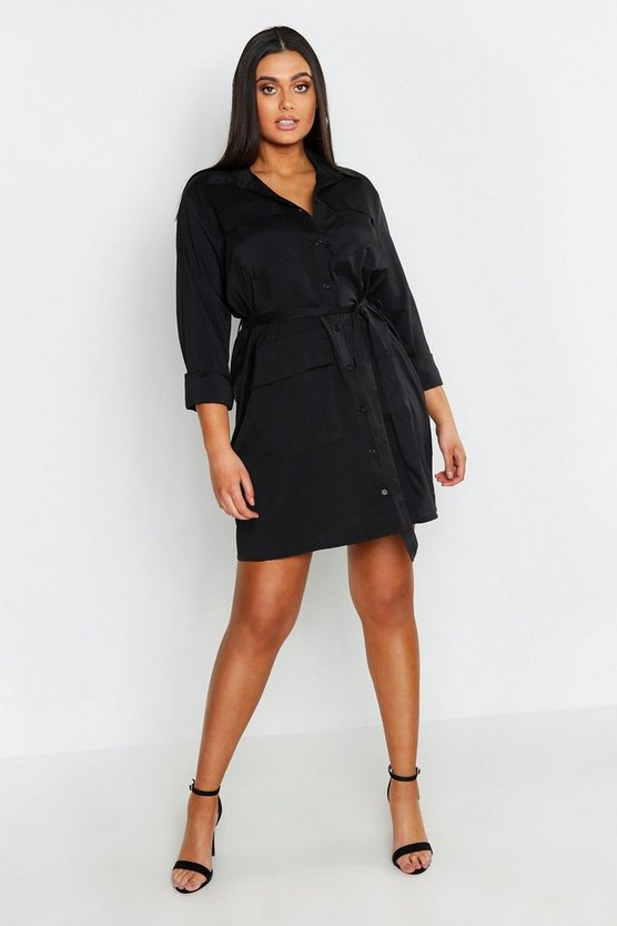 Plus Utility Pocket Shirt Dress