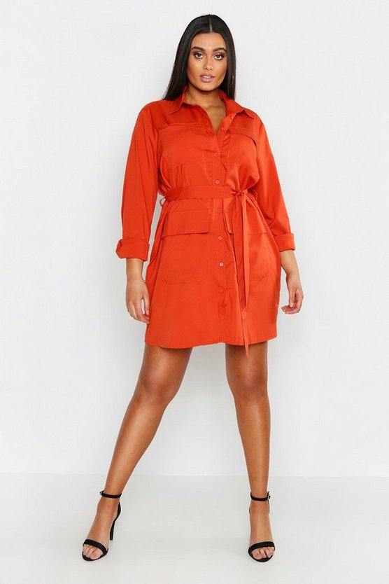 Womens Terracotta Plus Utility Pocket Shirt Dress