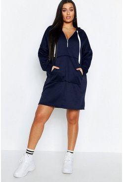 Womens Navy Plus Zip Front Hooded Sweat Dress