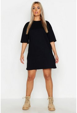 Womens Black Plus Oversized Drop Armhole T-Shirt Dress
