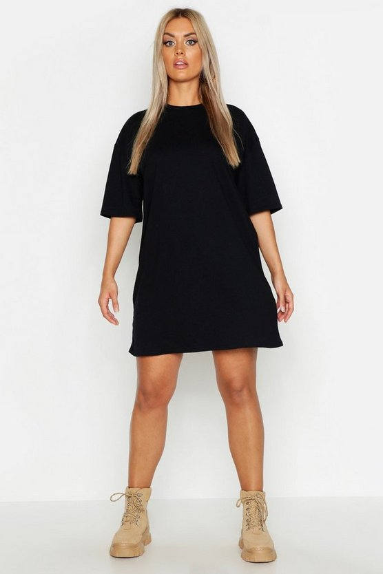 Womens Black Plus Super Oversized Drop Armhole T-Shirt Dress