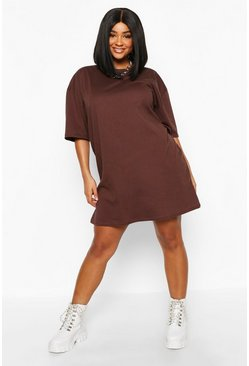 Womens Chocolate Plus Oversized Drop Armhole T-Shirt Dress