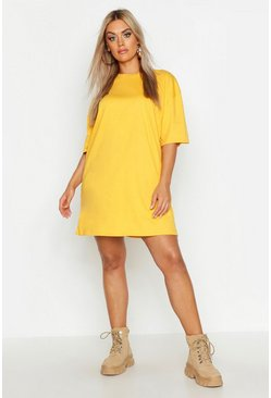 Womens Mustard Plus Oversized Drop Armhole T-Shirt Dress