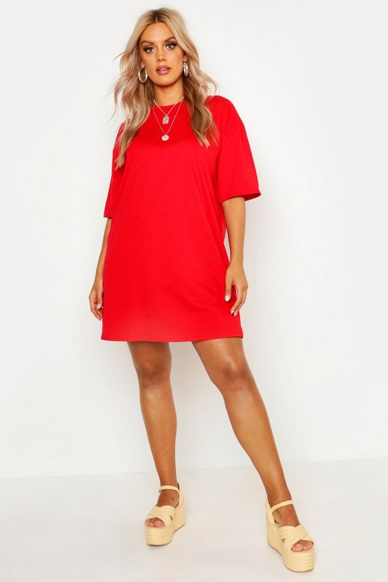 Womens Red Plus Super Oversized Drop Armhole T-Shirt Dress