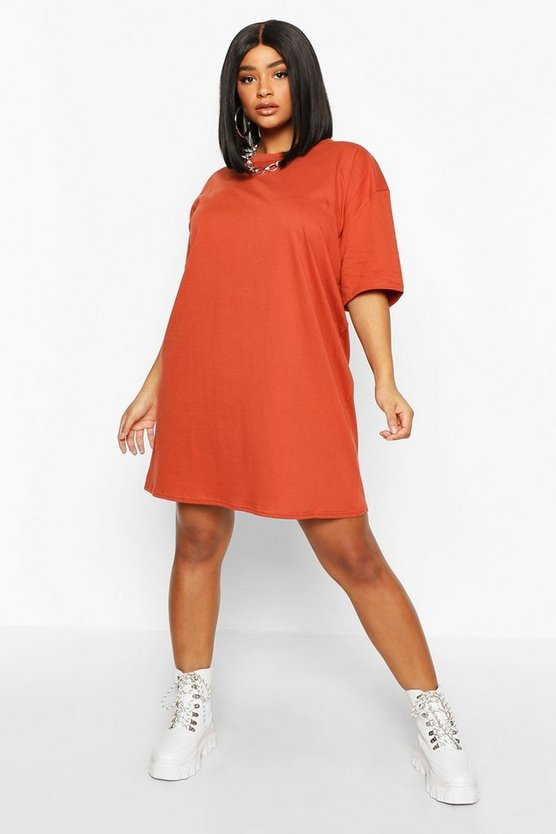 Terracotta Plus Oversized Drop Armhole T-Shirt Dress