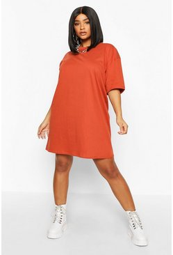 Plus Oversized Drop Armhole T-Shirt Dress, Terracotta, Donna