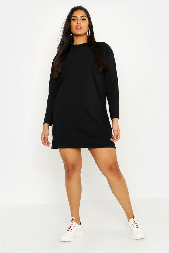 Womens Black Plus Long Sleeve T-Shirt Dress
