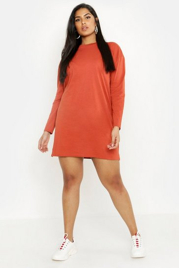 Womens Terracotta Plus Long Sleeve T-Shirt Dress