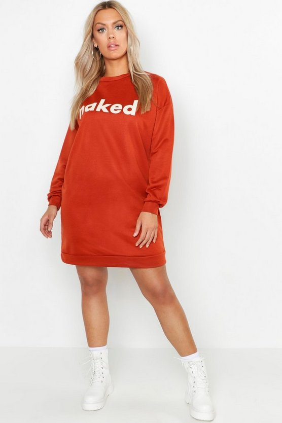 Womens Rust Plus Naked Long Sleeve Sweat Dress