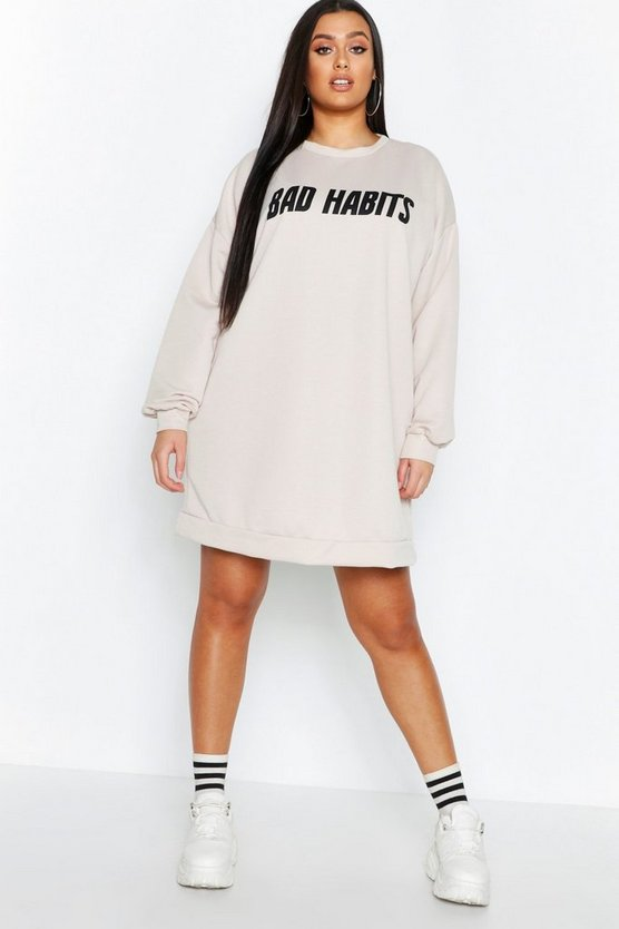 Womens Stone Plus Bad Habits Long Sleeve Sweat Dress