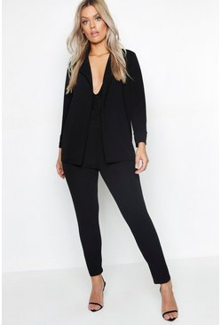 Womens Black Plus Blazer & Trouser Suit Co-ord