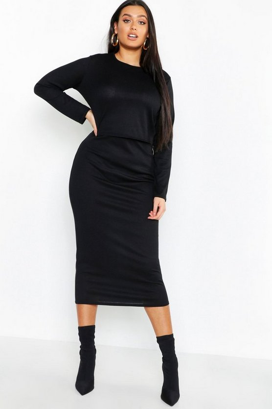 Plus Rib Top & Midi Skirt Co-ord