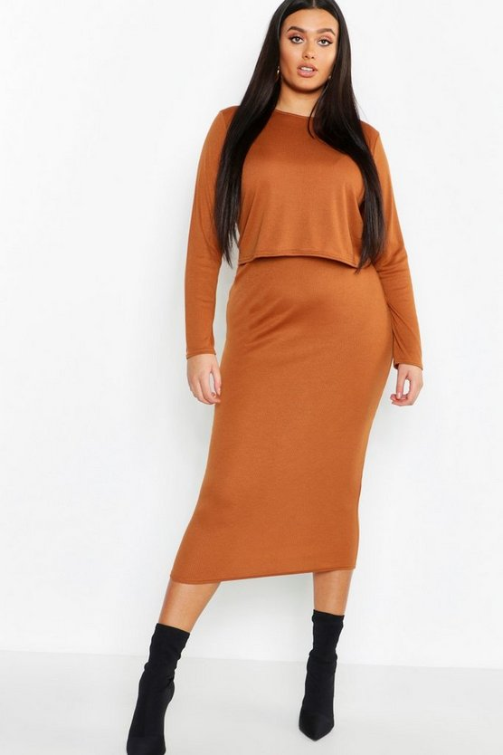 Womens Plus Rib Top & Midi Skirt Co-ord