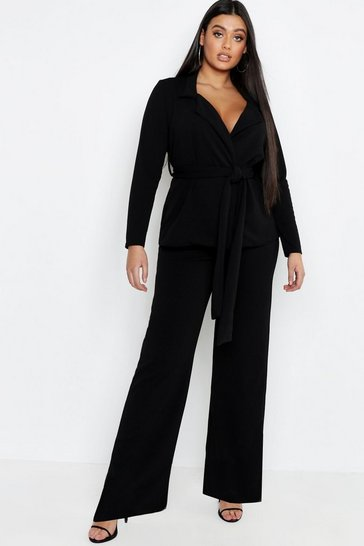 Womens Black Plus Tie Waist Blazer & Wide Leg Trouser Co-ord