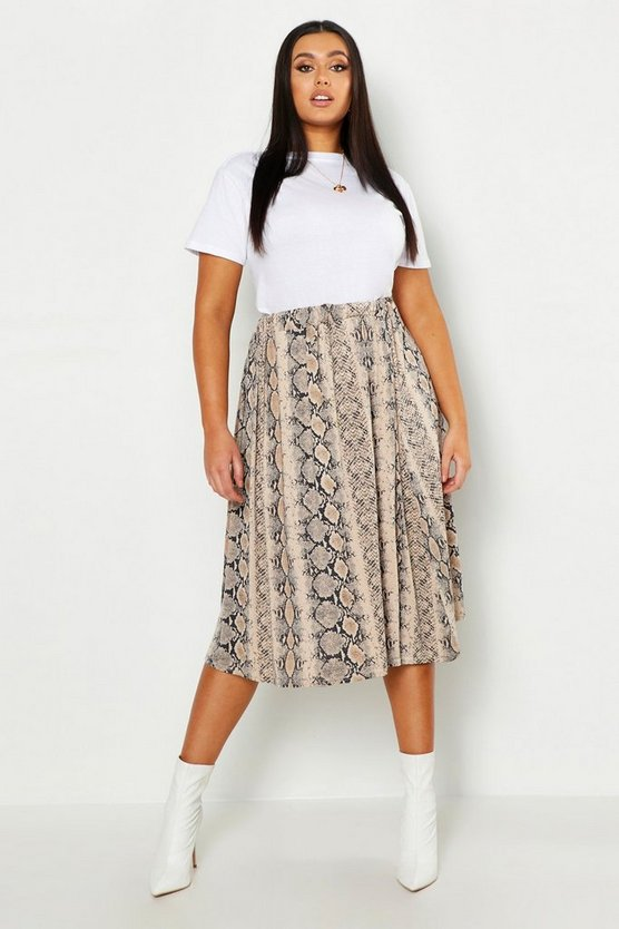 Womens Natural Plus Jersey Animal Print Midi Skater Skirt