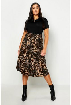 Womens Brown Plus Jersey Animal Print Midi Skater Skirt
