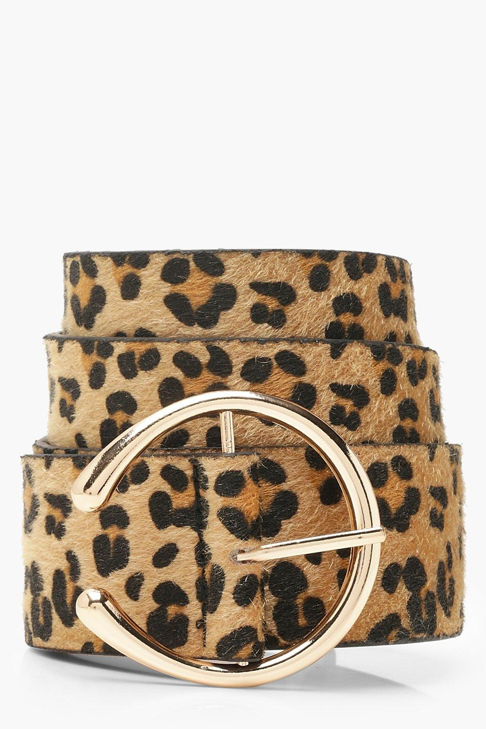 Plus Leopard Faux Fur Horse Shoe Buckle Belt