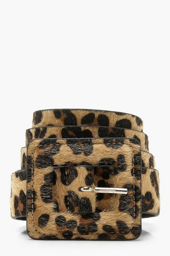 Womens Brown Plus Faux Fur Leopard Buckle Boyfriend Belt