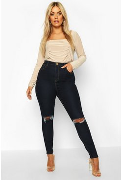 Womens Dark blue Plus High Waist Distressed Skinny Jean