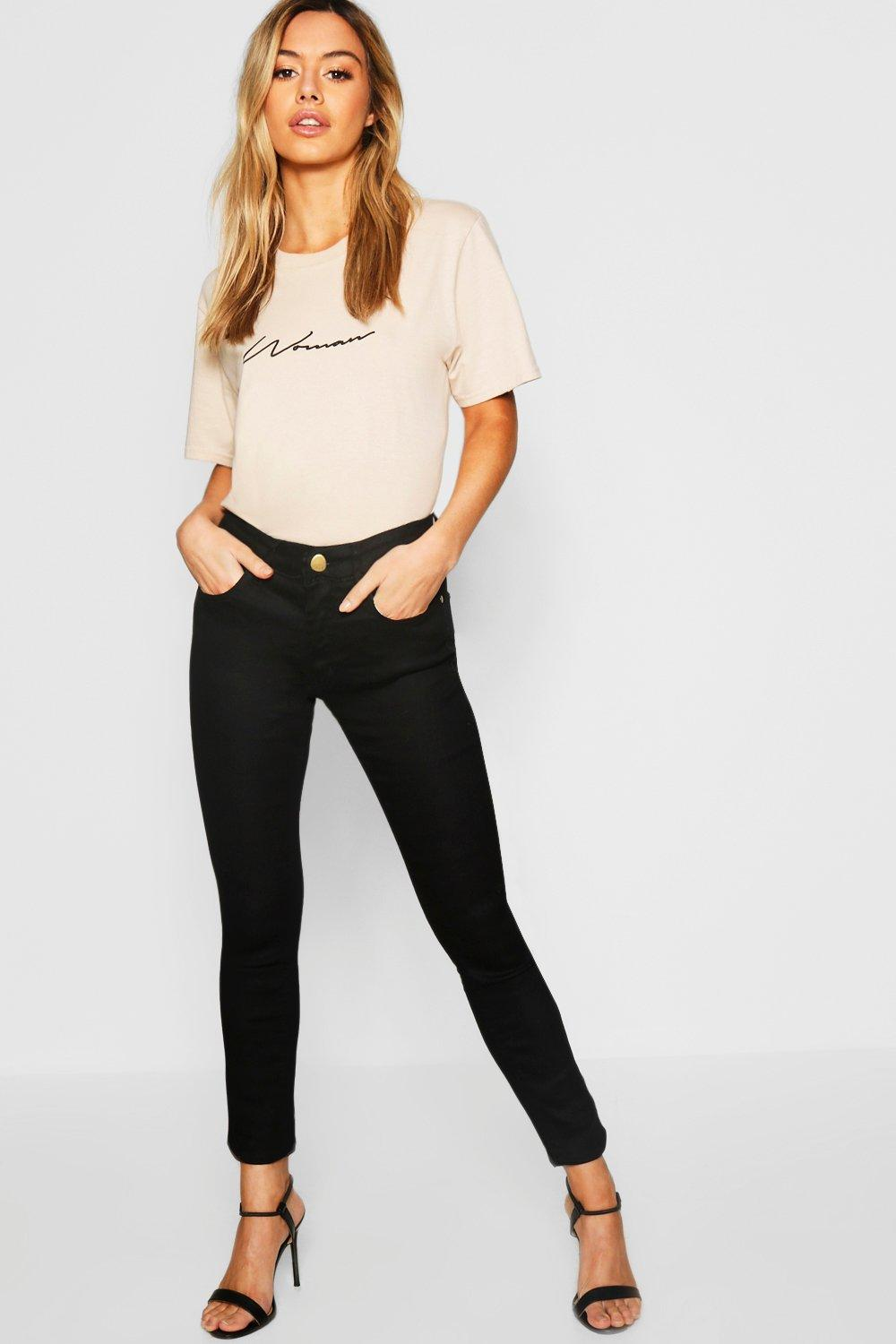 Petite One Button Mid Rise Skinny Jean