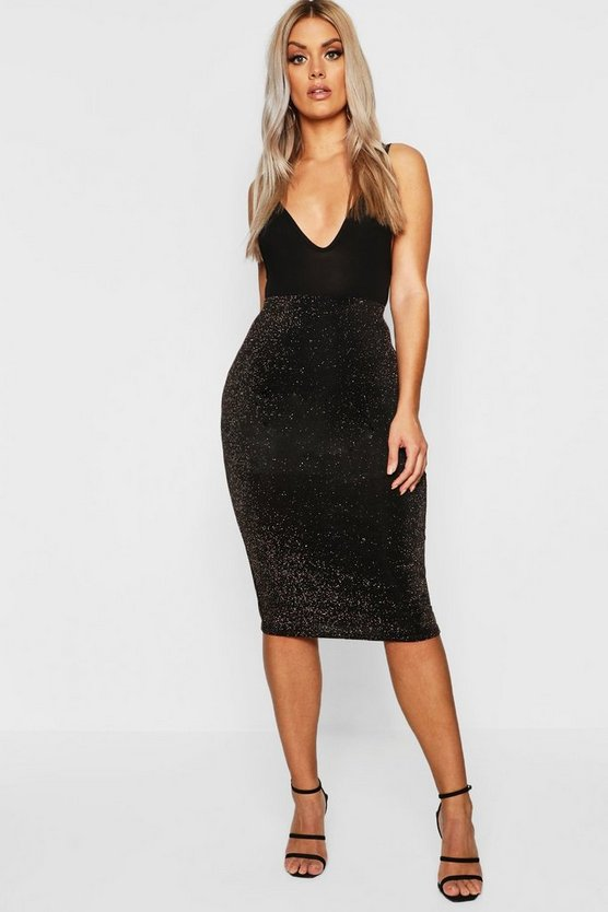 Gold Plus Shimmer Midi Skirt