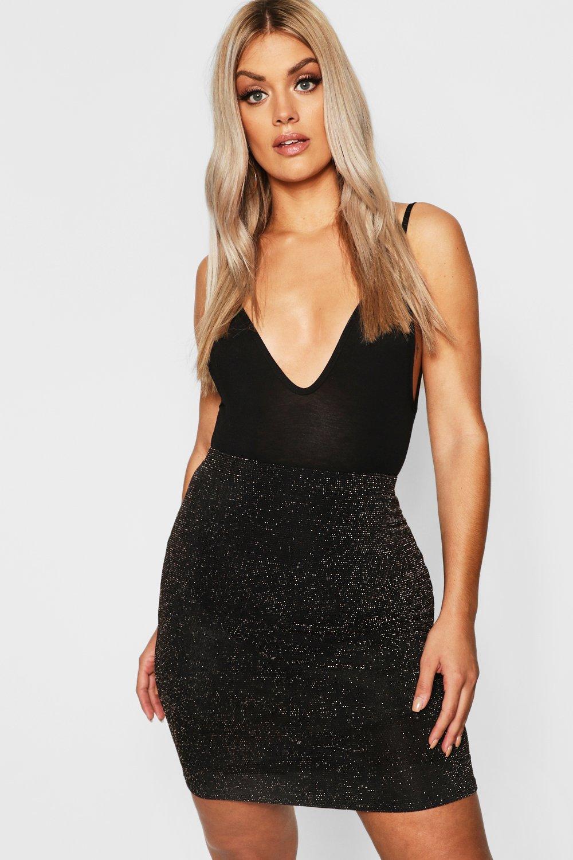 Plus Shimmer Mini Bodycon Skirt