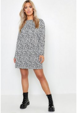 Womens Taupe Plus Leopard Print Drop Hem Dress