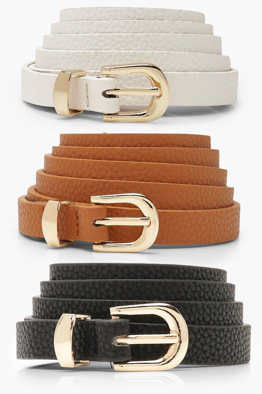Vintage Wide Belts, Cinch Belts 40s, 50s Belts Womens Plus 3 Pack Skinny Belt - black - One Size  AT vintagedancer.com