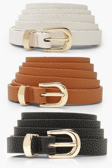 Womens Black Plus 3 Pack Skinny Belt