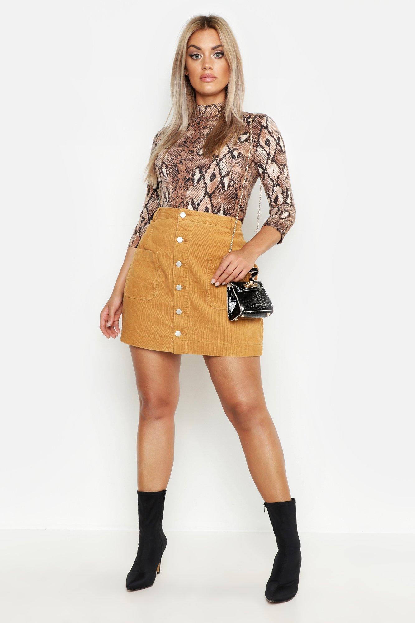 Plus Cord Button Through Skirt