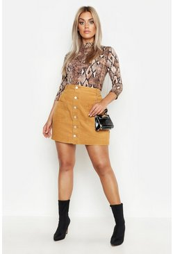 Womens Tan Plus Cord Button Through Skirt