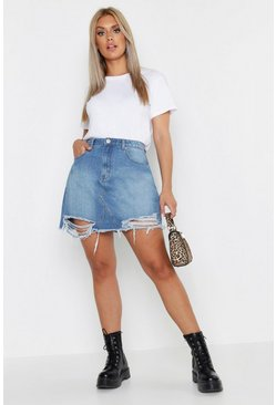 Womens Mid blue Plus Distressed Hem Denim Skirt