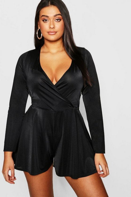 Womens Black Plus Slinky Wrap Over Long Sleeve Playsuit