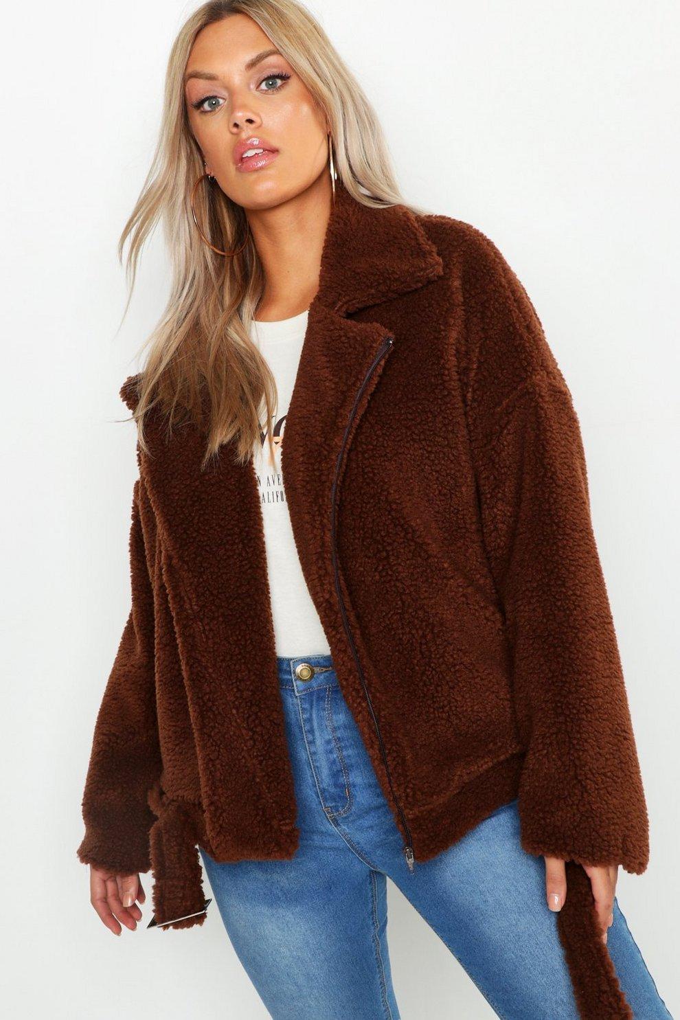 3ce7c1c94b Womens Brown Plus Teddy Faux Fur Biker Jacket