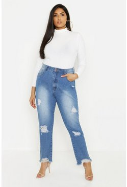 Womens Light blue Plus Distressed Hem Crop Mom Jean